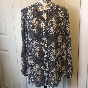 Lucky Brand Blue Paisley Boho Flow Button Up L